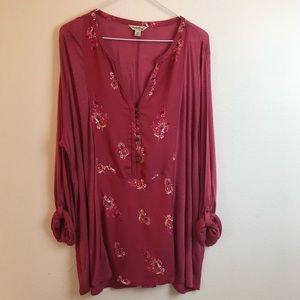 Lucky Brand Boho Tab Sleeve Blouse Plus Size 2X